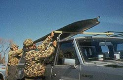 foldaboat duckboat Port a boat. The hunting boat fits atop sports utility vehicle